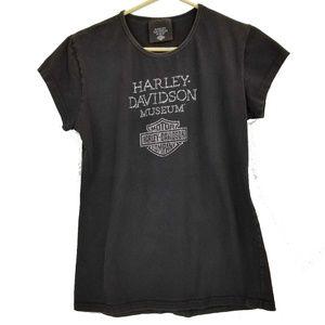 Harley Davidson Museum Rhinestone T Shirt Size XL